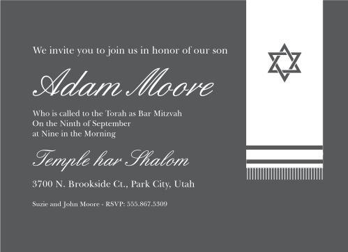 Bar mitzvah invitations match your colors style free basic invite prayer shawl bar mitzvah invitations solutioingenieria Gallery