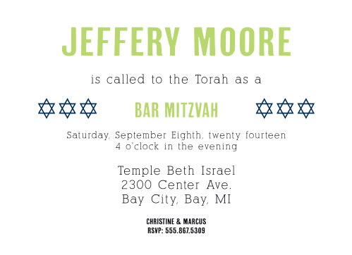 This Bar Mitzvah invite is perfect for someone looking for a modern, trendy, yet still classic Bar Mitzvah invite.