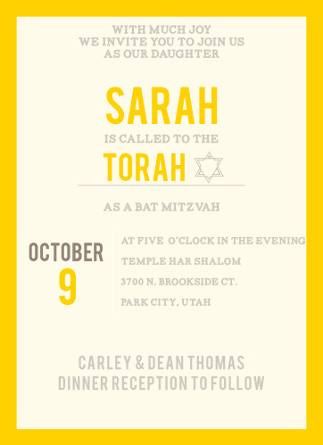 This Bat Mitzvah is classy, simple card, with plenty of room to add all of the information you need, while still impressing and getting your guests excited.