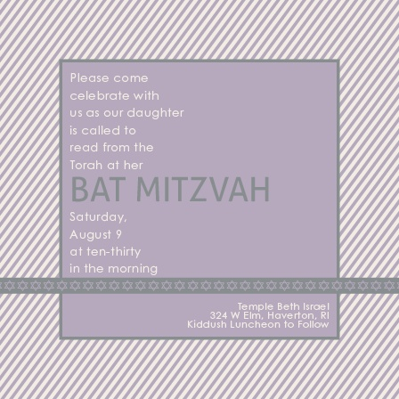 Diagonal Stripes Bat Mitzvah Invitations