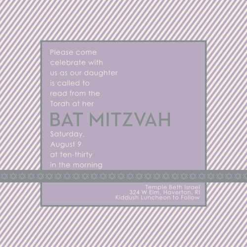 This Bat Mitzvah invite is the perfect choice for anyone wanting an invite that is straightforward, with just a touch of personality. Tons of room to add the information you need to, and a great monogram to make it 100% you.