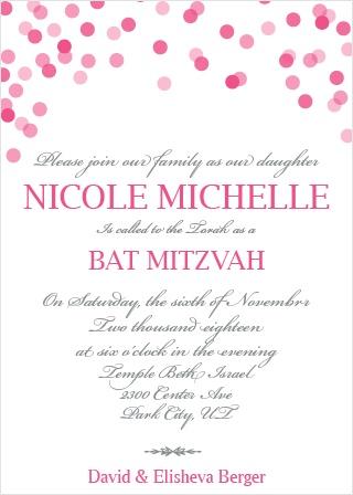 Falling Confetti Bat Mitzvah Invitations