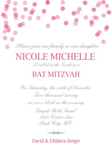 The Falling Confetti Bat Mitzvah invitations have a fun and unique style that can fit any party theme.