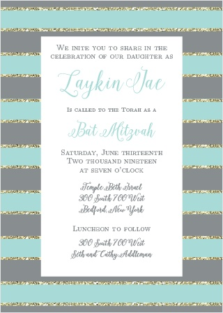 Add some sparkle to your Bat Mitzvah with the Golden Stripes invitations.