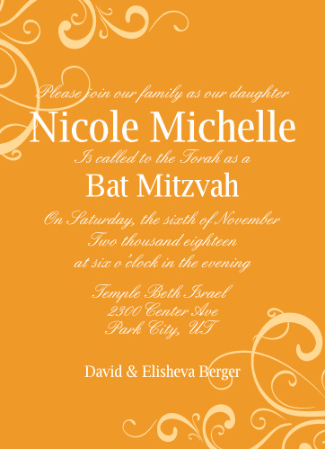 The Whimsical Swirls Bat Mitzvah invitations are a simple yet elegant design that allows you to chance the colors of each swirls, text, and background of the card.