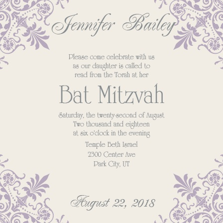 Elegant Corners Bat Mitzvah Invitations