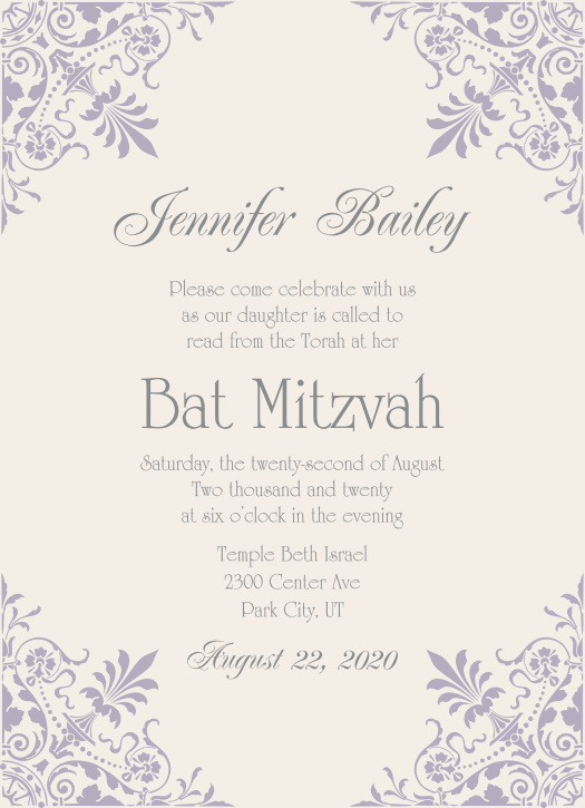 The Elegant Corners Bat Mitzvah invitations offer a vintage style with a intricate damask design shooting toward the center highlighting the important details of your invite.