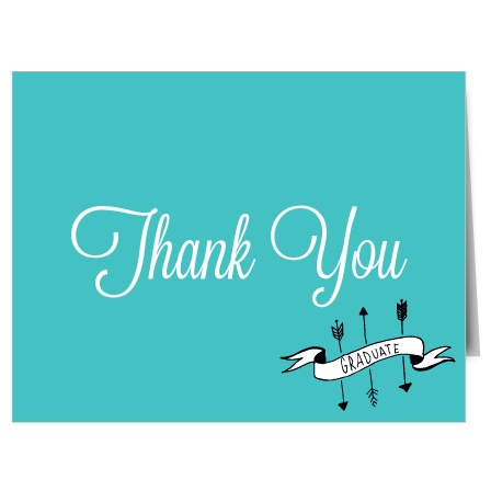 The Arrows and Banner thank you cards are the perfect match to the Arrows and Banner graduation announcements.