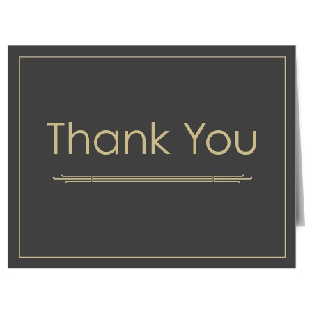 The Art Deco graduation thank you cards have a Great Gatsby look and feel that matches the Art Deco graduation announcement perfectly.