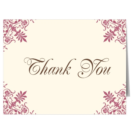 The Chandelier Corner graduation thank you cards offer a vintage style with chandeliers on each corner directing your attention to the center of the card.