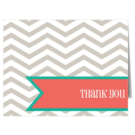 The Chevron Ribbon graduation thank you cards have a color changeable pattern background with a ribbon that is perfect for you thank you text.