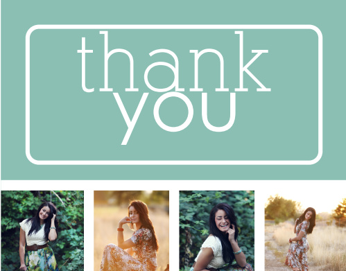 The College Collage graduation thank you cards just like the College Collage announcement has lets you upload your photos to create a completely unique way to say thank you.
