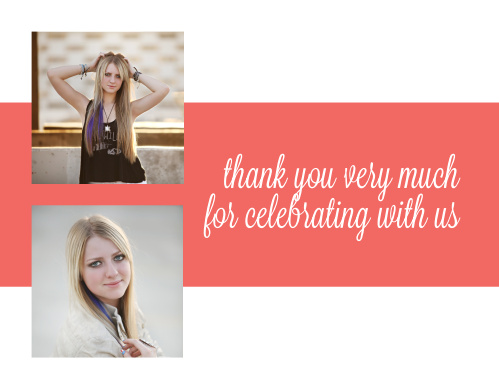 The Craft Border graduation thank you cards offer 2 photo spaces with room to write a special not to the right.