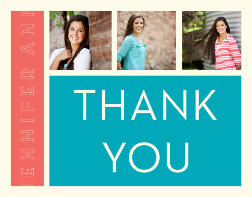 Add 3 photos to the Fine Lines graduation thank you cards to make it your own.