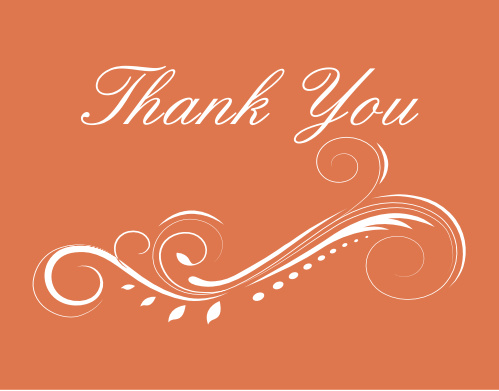 The High Class graduation thank you cards offer a detailed scroll at the bottom with your thank you message above.