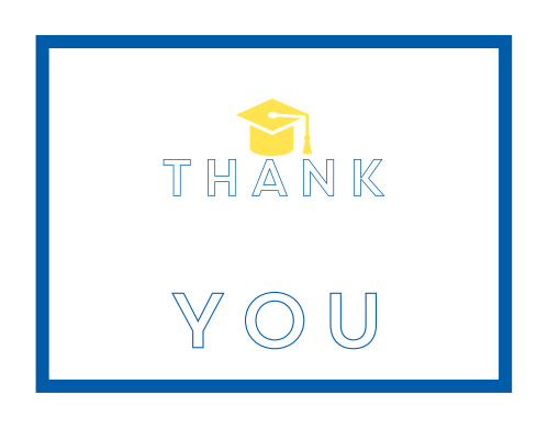 The Island Cap graduation thank you cards offer a fun and playful look with bright color and graduation cap.