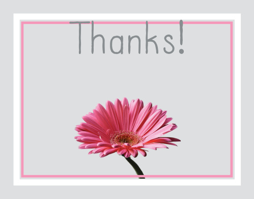 The Gerber Daisy graduation thank you cards offers a beautiful floral themed card that can be instantly personalized to have the flower in any color you would like.