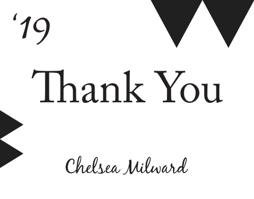 The Golden Graduate graduation thank you cards have a modern vibe with triangles on the top and the side.