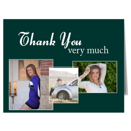 The Livin is Easy graduation thank you cards has 3 photo boxes for you to use with borders that can be personalized individually.