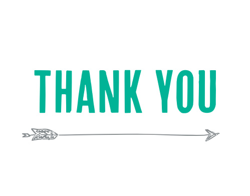 The Modern Arrow graduation thank you cards have your thank you text sitting on top of a trendy arrow.