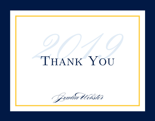 The Moving On graduation thank you cards have let you put your thank you message over a subtle graduation year.