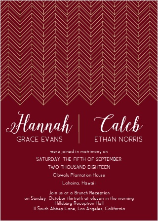 Your guests will be delighted when they receive The Glamorous Chevron Invitation. A beautiful modern design graces the top of the card, and all of your important information fills in the rest.