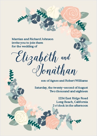 Wedding invitations match your color style free the illustrated corner wreath wedding invitation stopboris Choice Image
