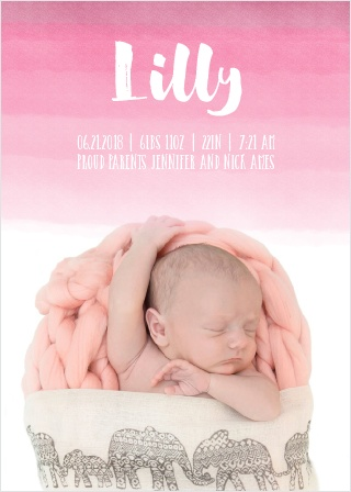 The Watercolor Ombre birth announcements offer a gorgeous watercolor background that fades out to give the perfect segue for your baby's photo.