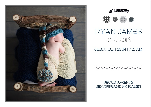 The Cute As A Button Boy birth announcements have a set of buttons that can be personalized to be any color you want.