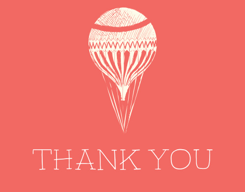 The Air Balloon baby shower thank you cards have a air balloon carrying the words thank you to your guests.