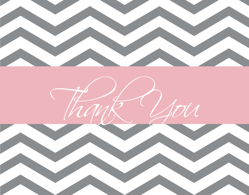 The Baby Boutique baby shower thank you cards have a customizable pattern background and thick stripe in the center to hold your thank you message.