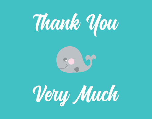 The Baby Whale baby shower thank you cards are a cute addition to the Baby Whale shower invites and let you say thanks and hold close to your original theme.