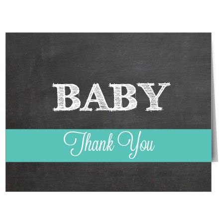 The Chalkboard and Flags Baby Shower Thank You Cards feature a cute chalkboard background and a colored stripe along the bottom.
