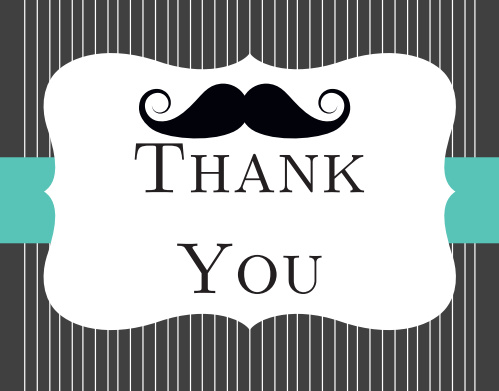 Say your thanks with a hipster vibe using the Little Man Baby Shower Thank You Cards.