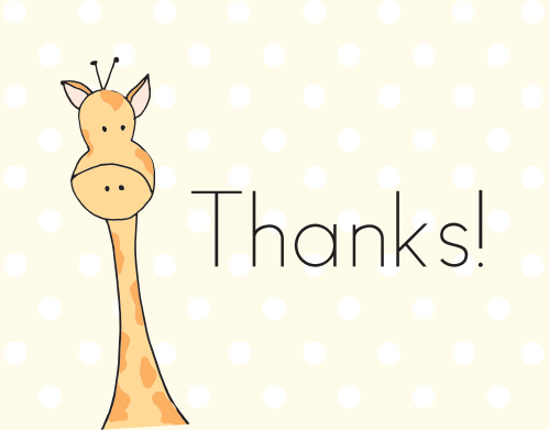 Let the Peeping Giraffe baby shower thank you cards tell your guests thank you for helping you celebrate such an important event.