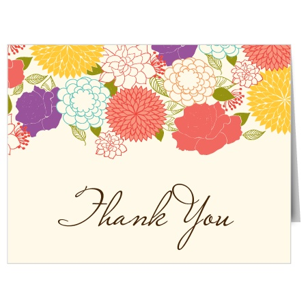 Flower Collage Bridal Shower Thank You Cards