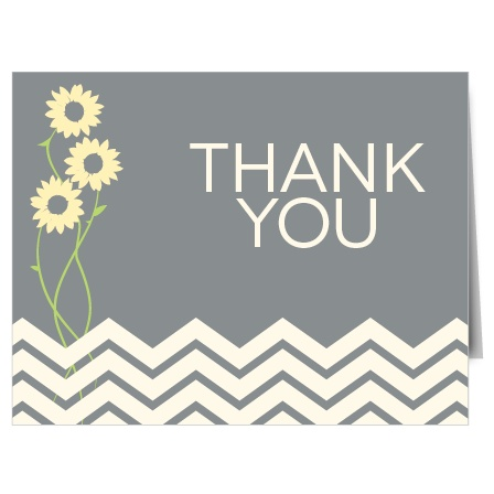 The Sunflower bridal shower thank you cards allow you to change the color of everything from the flower to the chevron border.