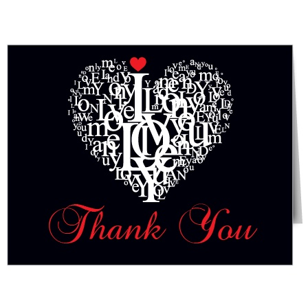 Subway Letter Heart Bridal Shower Thank You Cards