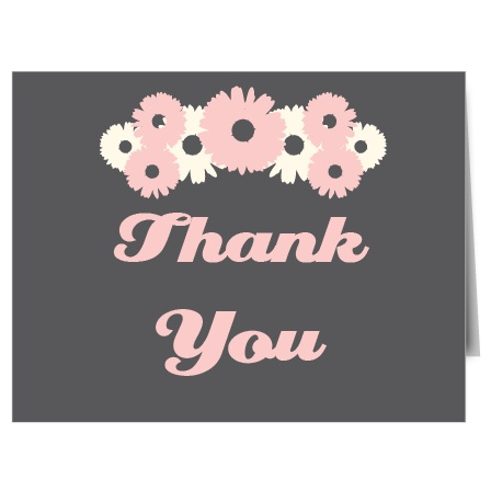 The Daisy bridal shower thank you cards are a unique portrait folded style card.