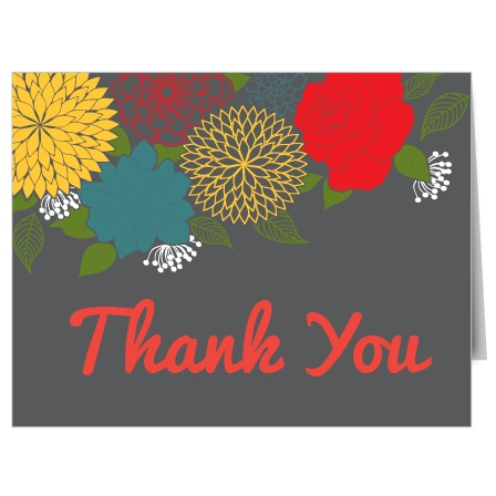Modern Flowers Bridal Shower Thank You Cards