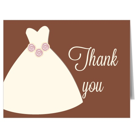 Wedding Dress Bridal Shower Thank You Cards