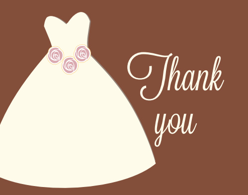 The Wedding Dress bridal shower thank you cards match the Wedding Dress bridal shower invitations for a seamless transition.