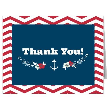 Chevron Sailor Wreath Thank You Cards