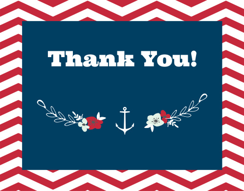 The Chevron Sailor Wreath thank you cards are the perfect way to show gratitude for those who helped welcome your latest addition, while maintaining your theme.