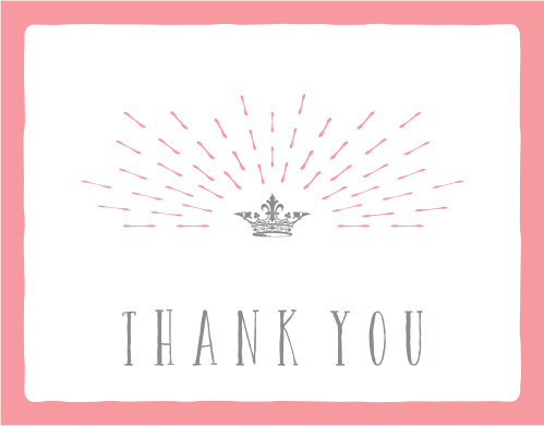 Hear ye! Hear ye! The Crowned Princess baby shower thank you card is here for you to adore its perfect crown and personal touches!