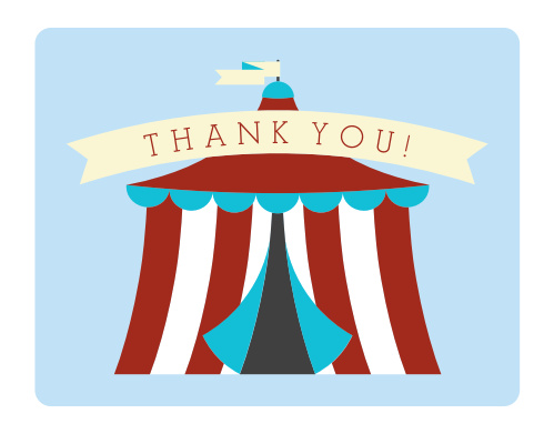 The Circus Ticket Thank You Card has the most perfectly simple, customizable circus tent on front!