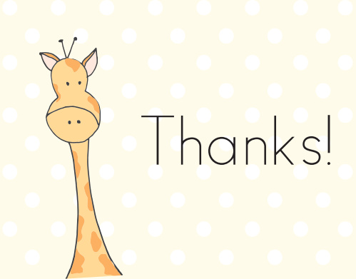 Our Toy Giraffe Thank You Cards is feature an adorable hand-drawn giraffe illustration and a banner across the top.
