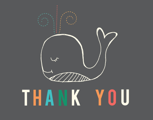 The Whale baby shower thank you card is the perfect way to thank your friends and loved ones for celebrating with you in a totally unique way.