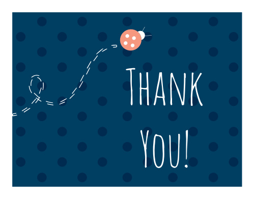 The Ladybug Little One Thank You card is just the cutest thing you've ever seen! A super fun lady bug and trail on top of delightful polka dots.