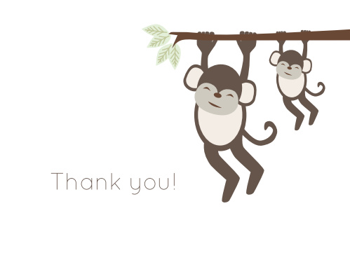 Hang in there! You've finally found the perfect Monkey Tree Baby Shower Thank You Card!